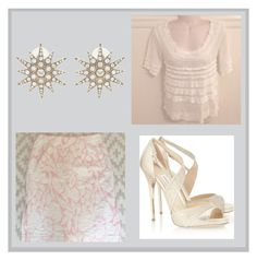 Feminine shimmery gold outfit by rvaclothingshop on Polyvore featuring Jimmy Choo, Elizabeth Cole and J.Crew