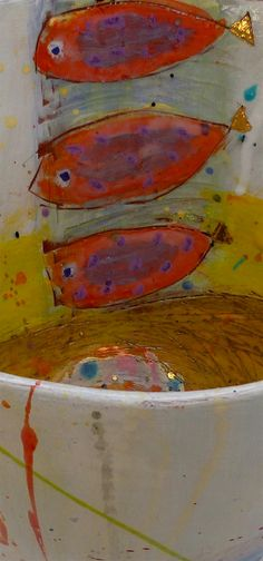 Ceramic vessel with 6 gold tailed fish with yellow ochre interior detail - close up, 20cmsH x 25cmsW  by Linda Styles.