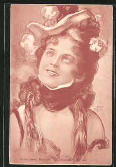 old postcard: AK Wunderschöne junge Frau mit Hut und Schal
