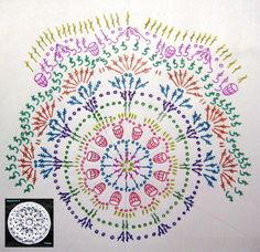 I love crochet . Today I want to show two beautiful decorations in crochet. A tablecloth crochet and point to what you want. Motif Mandala Crochet, Crochet Circles, Crochet Motifs, Crochet Diagram, Crochet Round, Crochet Chart, Crochet Doilies, Crochet Flowers, Free Crochet