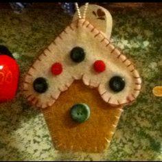Felt ornament Birdhouse Buttons