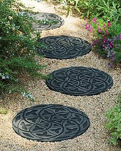 """recycled rubber stepping """"stones"""""""