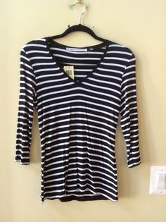 NWT MAX STUDIO MULTI-COLOR STRIPED MODAL/SPANDEX 3/4 SLEEVE BLOUSE SZ S-$58 #Maxstudio #Blouse
