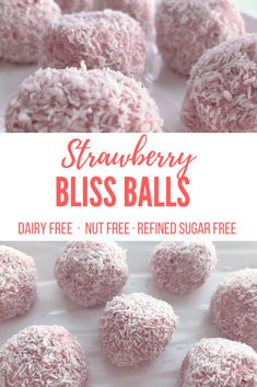 Strawberry bliss balls using only 4 ingredients! A delicious and healthy snack that the whole family will love. Refined sugar-free and nut-free. Sugar Free Snacks, Dairy Free Snacks, Sugar Free Recipes, Baby Food Recipes, Snack Recipes, Disney Recipes, Disney Food, Dairy Free Nut Free Recipes, Sugar Free Lunch Ideas