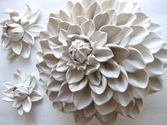 Davenport Honey Dahlia Flower Wall Sculpture Tile by DillyPad