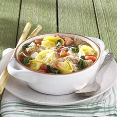 Rustic Italian Tortellini Soup - made this 11/05/13 and it was great!!! Kids loved it too! Used full lb of sausage (the Jimmy Johnson Natural in a tube), doubled the broth, tom's, h2o, spices and used 19oz frozen tort's. More than enough for two meals for $14.87!!!