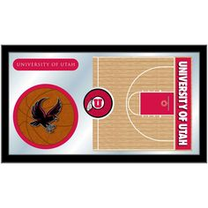 Utah Utes Basketball Court Mirror Wall Art