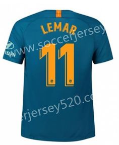 80920208136 2018-19 Atletico Madrid 2nd Away Blue  11 (LEMAR) Thailand Soccer Jersey