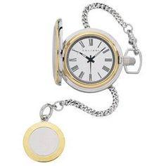 Colibri Pocket Watch Two Tone Faceted Edge Roman Numeral PWQ097700S (Watch)