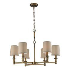 Shop for Elk Lighting Baxter 6-light Brushed Antique Brass Chandelier. Get free shipping at Overstock.com - Your Online Home Decor Outlet Store! Get 5% in rewards with Club O!