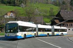 ▐ HESS Bus-styled double articulated trolleybus in Kriens, Lüzurn, Switzerland. Nostalgia, Light Rail, Busses, Switzerland, Around The Worlds, Hyde Park, Surface, Vans, Trucks