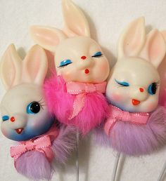 Vintage plastic easter bunny picks http://www.pinterest.com/kelbug/vintage-easter/