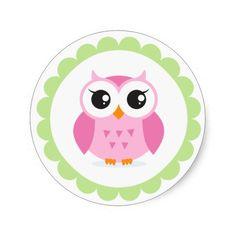 cute owl pics   Cute pink owl cartoon inside green border round sticker