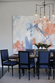 mixing navy blue and black. abstract coral art piece. designed by ashley darryl.