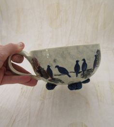 Soup Bowl Soup Mug Birds Floral Abstract Custom Muddy Paws Pottery