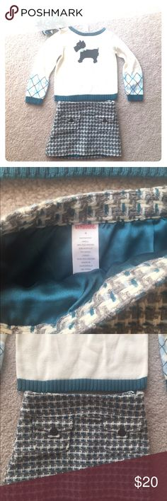 Gymboree tweed skirt argyle sweater M2M bow Excellent used condition. Tweed skirt and argyle Scotty dog sweater size 4. Adorable with black boots. Gymboree Matching Sets