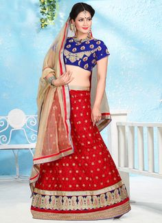 Amazing Red Patch Border Work A Line Lehenga Choli | Wedding Lehenga Choli | Bridal Lehenga Choli | Designer Lehenga Choli | Item Code: 6148