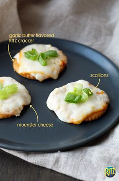 An easy and delicious snack for the whole family! Place a slice of muenster cheese on a RITZ cracker and melt in the microwave. Add sliced scallions on top for extra flavor!