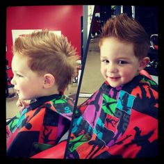 This little guy is so cute! He's a big boy now with his new haircut! ♡ #eurohawk  Little Red's Cut & Dye Salon  Sapulpa OK