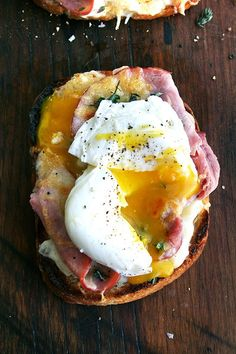Open faced Croque Monsieur with Poached Eggs