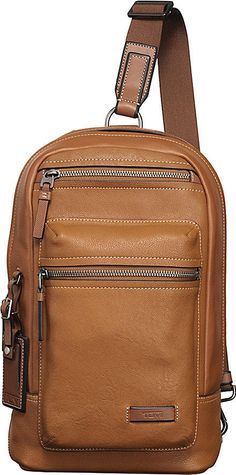 TUMI Mission Dolores Tan Leather Tablet Holder Travel Sling Backpack    NEW #travel #sling #backpack #luggage #holder #tablet #mission #dolores #leather #tumi