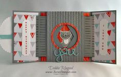 Foxy Friends, Vertical Greetings, Number of Years, Stampin Up Fancy Fold Cards, Folded Cards, Unique Cards, Creative Cards, Spinner Card, Cards For Friends, Friend Cards, Slider Cards, Window Cards