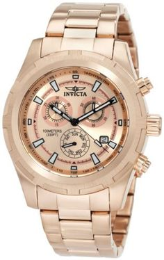 Invicta Men's 1562 II Collection Swiss Chronograph Watch Invicta. $115.00. Rose Dial with Black Hands and Hour Markers; Luminous; Tachymeter on Inner Bezel. Water-resistant to 100 M (330 feet). Flame-Fusion Crystal; Brushed and Polished 18k Rose Gold Ion-Plated Stainless Steel Case and Bracelet. Swiss Quartz Movement. Chronograph Functions with 60 Second, 30 Minute and Day of the Week Subdials; Date Function