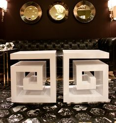 Regina Andrew- IHFC Interhall 006 Item # 577474 Maze End Table. Classic greek key tables in white lacquer. And the rug. Furniture Styles, Find Furniture, Home Furniture, Furniture Design, White Bathroom Accessories, Wicker Table, Styles P, Greek Key, End Tables