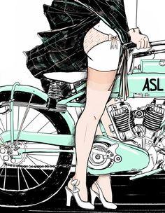 Motorcycle & panty girl illustration by Amanda S. Lanzone