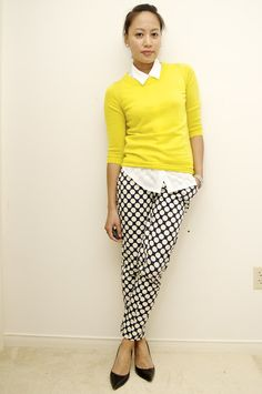 Like the yellow sweater with the black/white pants