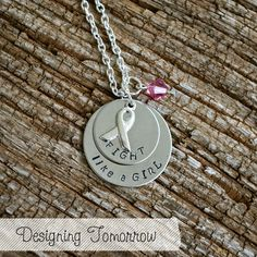 Awareness Necklace  FIGHT like a GIRL with by DesigningTomorrow