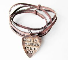 Guitar Pick Necklace with song lyrics - Edward Sharpe and The Magnetic Zeros - Home is Wherever I'm with you - Mens Gift. $24.00, via Etsy.