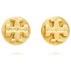 Tory Burch Livia Stud Earrings ($55) ❤ liked on Polyvore featuring jewelry, earrings, tory burch, accessories, brass, logo earrings, stud earrings, polish jewelry and tory burch jewelry