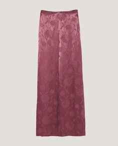 NWT ZARA Purple SHINY JACQUARD TROUSERS Pants Wide Leg Size L Ref.4479/240 #ZARA #WideLeg