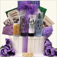 Indulge Mom this Mother's Day by sending her this Lavender Spa Pleasures bath & body Spa Gift Basket. Filled with spa products from San Francisco Soap Company, she will be feeling relaxed in no time. Included in this gorgeous basket is a Lavender Milled Bath Bar, Moisturizing Body Lotion, Refreshing Body Mist, Cotton Terry Bath Slippers, 7 Piece Manicure Set in Travel Case, DeGeneve Dark Chocolate Mint Delights and more.
