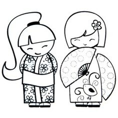 kokeshi coloring page