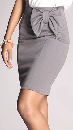 Business Casual Bow Back High Waist Pencil Skirt in Mocha ...