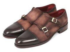 Paul Parkman Handmade Shoes, Paul Parkman Men's Double Monkstrap Captoe Dress Shoes - Brown / Beige Suede Upper and Leather Sole (ID#FK09)