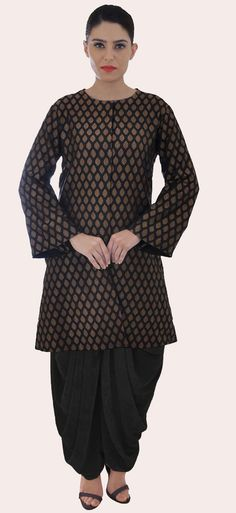 Black-Gold Handwoven Banarasi Zari Jacket With Dhoti Salwar Pants