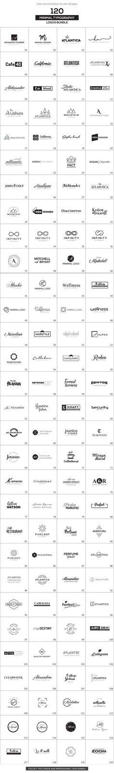 120 Minimal Typography Logos Bundle by XpertgraphicD on @creativemarket