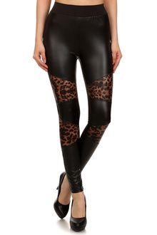 Sexy Leopard Faux Leather Leggings