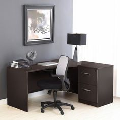 100 Series: Corner L Shaped Desk with Filing Cabinet in Espresso by Unique Furniture