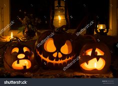 Photo Composition From Three Pumpkins On Halloween. Crying, Jack And Frightened Pumpkins Against An Old Window, Dry Leaves - 331013411 : Shutterstock