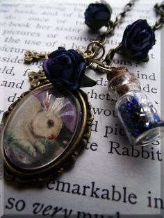 The White Rabbit Necklace by SwordandBough on Etsy, $23.00  This would be good for the Alice in Wonderland party the SacSteam is throwing in June