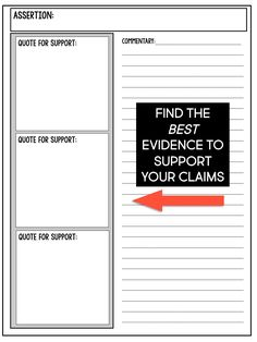 Teaching Students to Find Evidence in Literarure - Room 213 Student Teaching, Teaching Writing, Teaching Tips, Essay Writing, Teaching English, English Teachers, Teaching Secondary, College Teaching, Teaching Strategies
