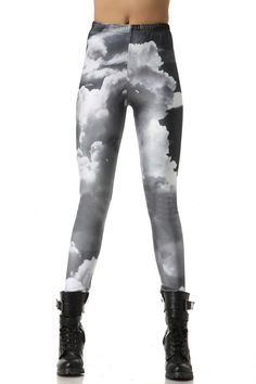 Grey Skinny Sky Printed Elastic Leggings,Cheap in Wendybox.com