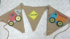 Construction trucks builder themed wood shape cutouts burlap banner garland birthday party baby shower gender reveal 1st birthday retirement anniversary bachelor builder building caution commerce Bob the Builder party decor