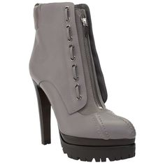 Pre-owned Sergio Rossi Leather Zipper Lug Sole Ankle Boot Grey... (5 470 SEK) ❤ liked on Polyvore featuring shoes, boots, ankle booties, grey, leather boots, gray boots, gray ankle boots, platform booties and grey leather booties
