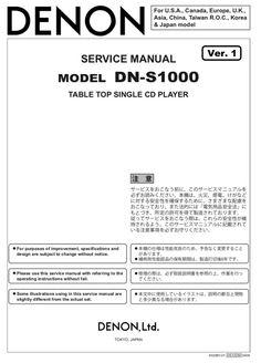 DENON DN-S1000 Service Manual – Spared Parts UK Japan Model, Manual, Digital, Textbook