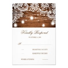 #wedding #responsecards - #Rustic Wood Mason Jar Lights Lace Wedding RSVP Card